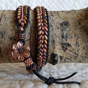 Beaded Double Wrap Leather Bracelet